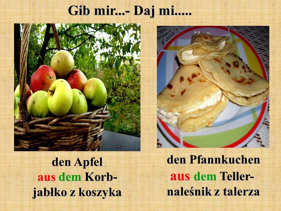 den Apfel aus dem Korb- jabłko z koszyka