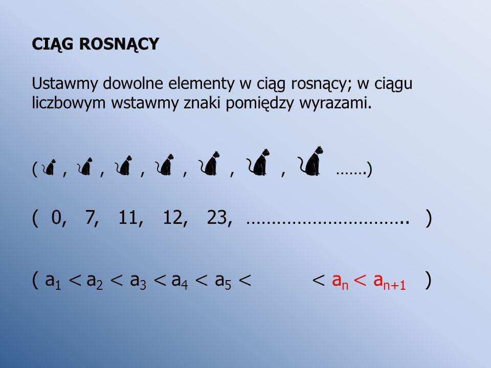 ( a1 < a2 < a3 < a4 < a5 < < an < an+1 )