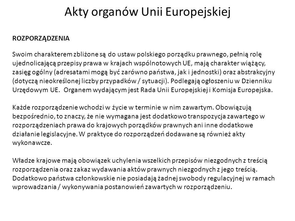 Akty organów Unii Europejskiej