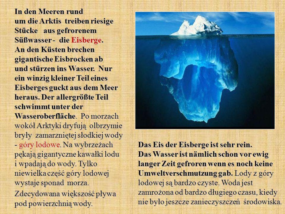 In den Meeren rund um die Arktis treiben riesige Stücke aus gefrorenem Süßwasser - die Eisberge. An den Küsten brechen gigantische Eisbrocken ab und stürzen ins Wasser. Nur ein winzig kleiner Teil eines Eisberges guckt aus dem Meer heraus. Der allergrößte Teil schwimmt unter der Wasseroberfläche. Po morzach wokół Arktyki dryfują olbrzymie bryły zamarzniętej słodkiej wody - góry lodowe. Na wybrzeżach pękają gigantyczne kawałki lodu i wpadają do wody. Tylko niewielka część góry lodowej wystaje sponad morza. Zdecydowana większość pływa pod powierzchnią wody.