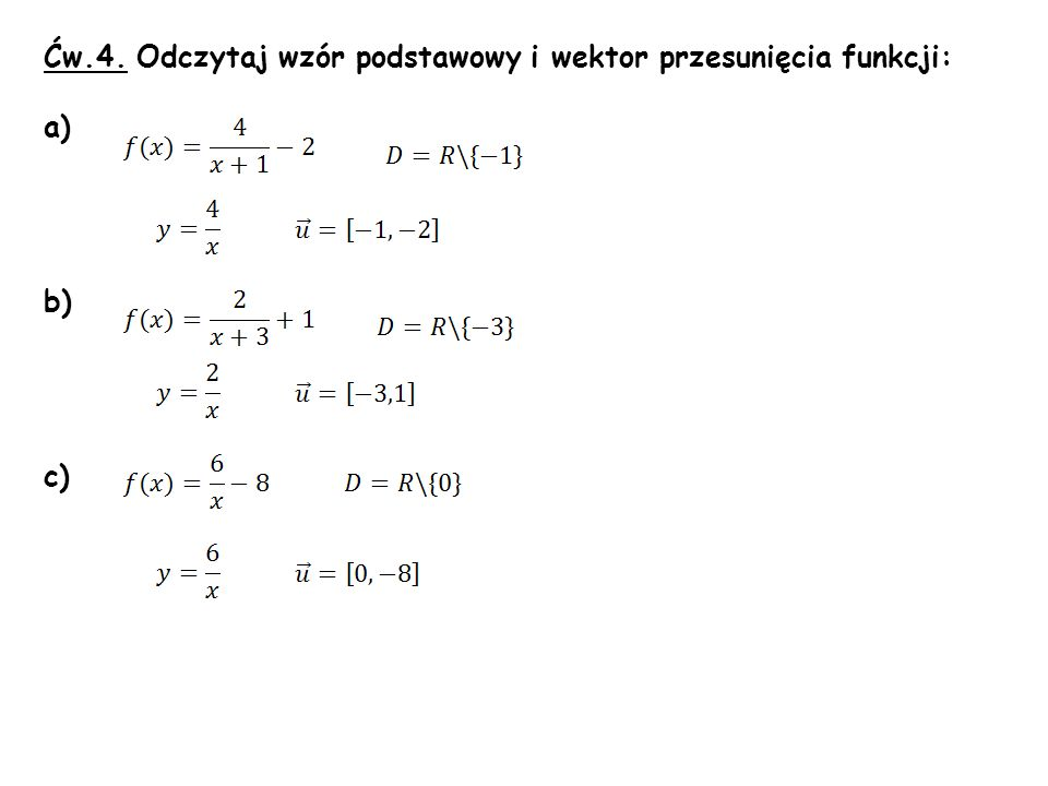 Ćw.4. Odczytaj wzór podstawowy i wektor przesunięcia funkcji: