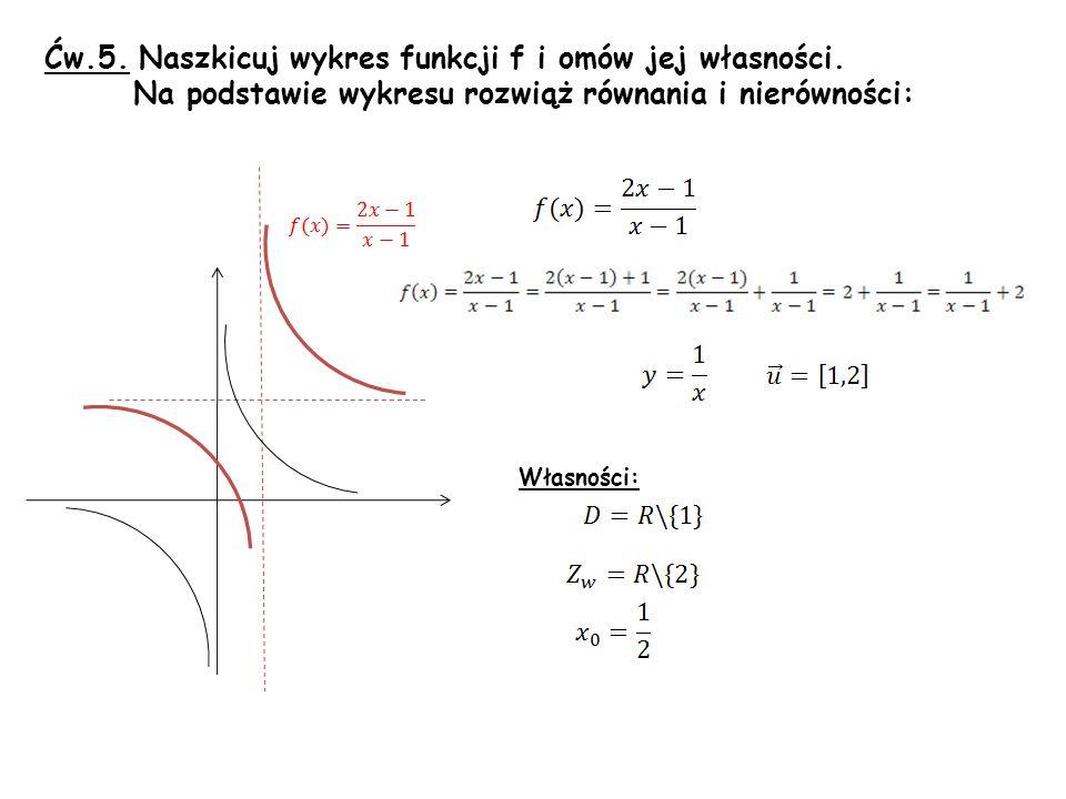 Ćw.5. Naszkicuj wykres funkcji f i omów jej własności.