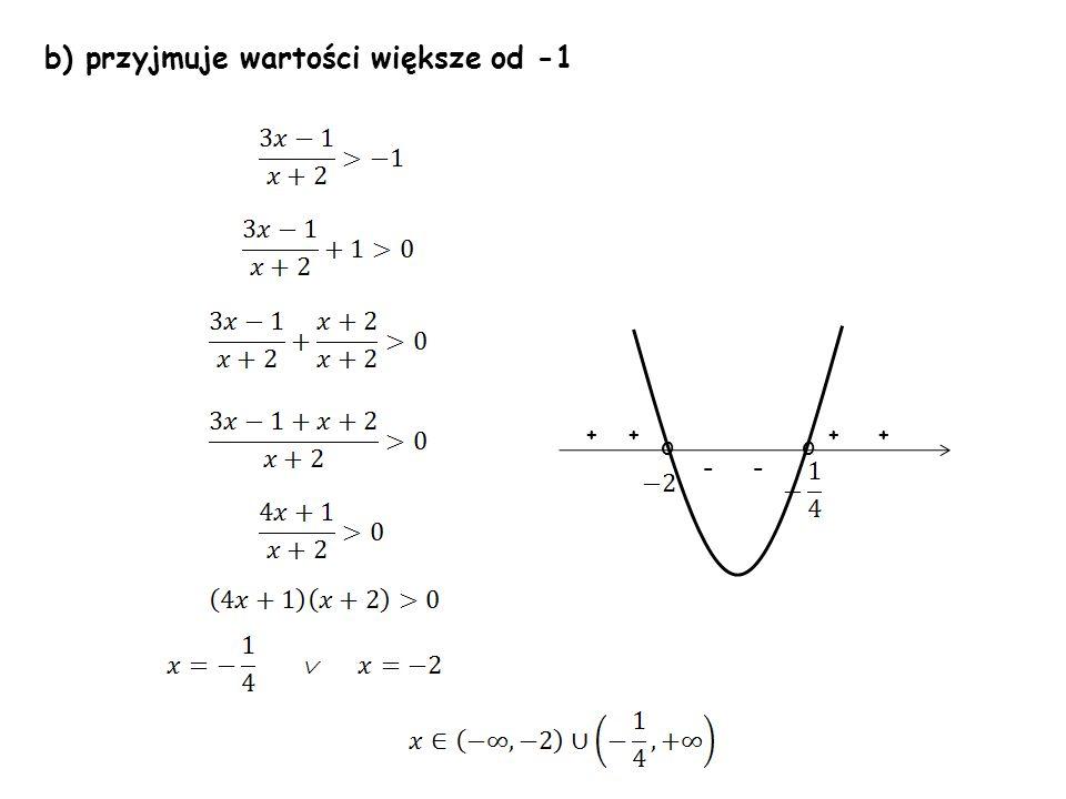 b) przyjmuje wartości większe od -1