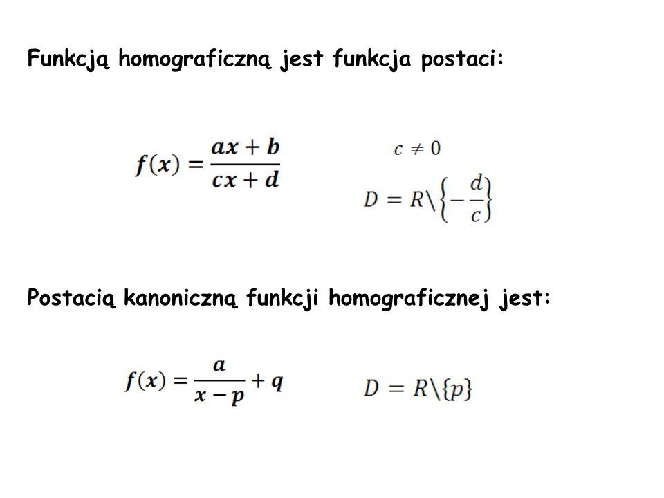 Funkcją homograficzną jest funkcja postaci: