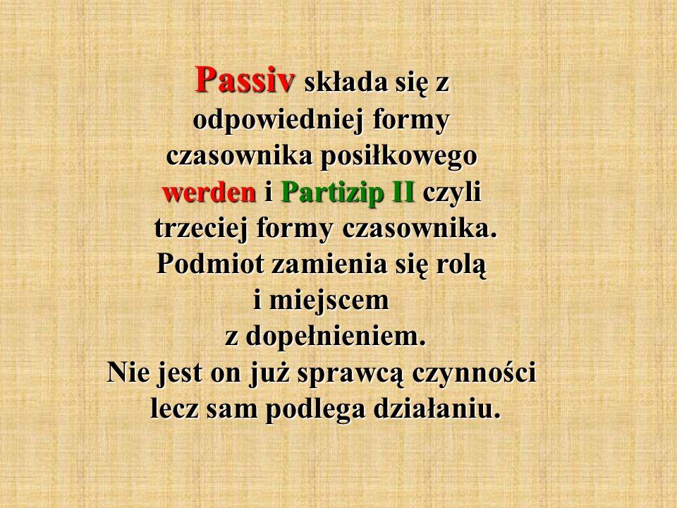 Passiv składa się z odpowiedniej formy czasownika posiłkowego werden i Partizip II czyli trzeciej formy czasownika.