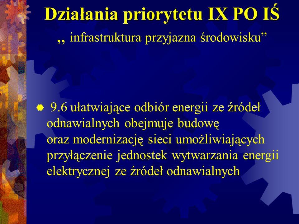 """Działania priorytetu IX PO IŚ """" infrastruktura przyjazna środowisku"""