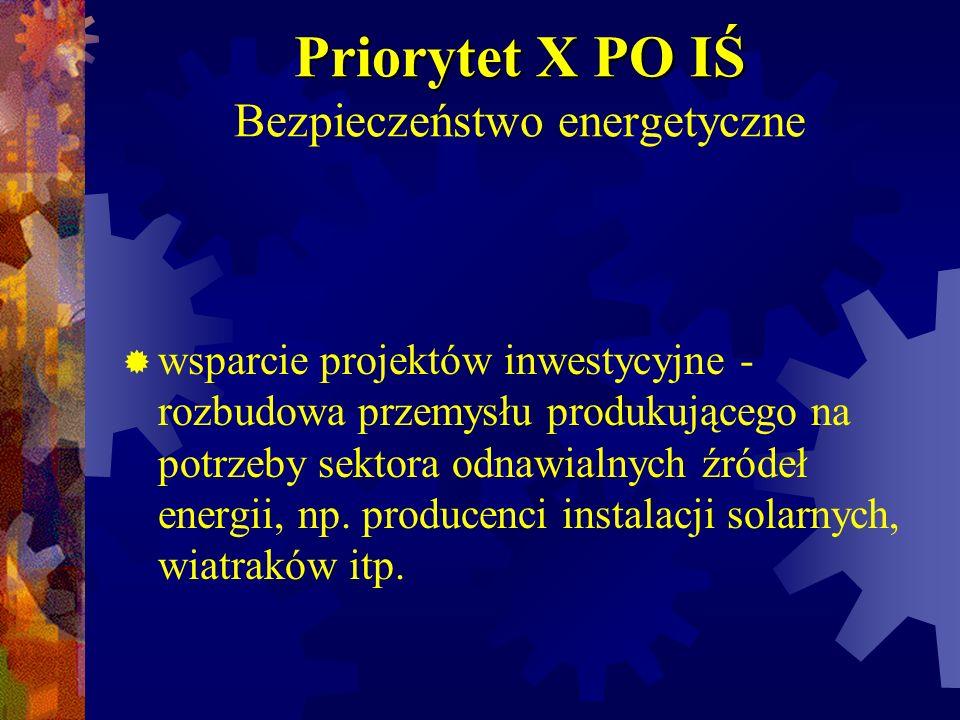 Priorytet X PO IŚ Bezpieczeństwo energetyczne