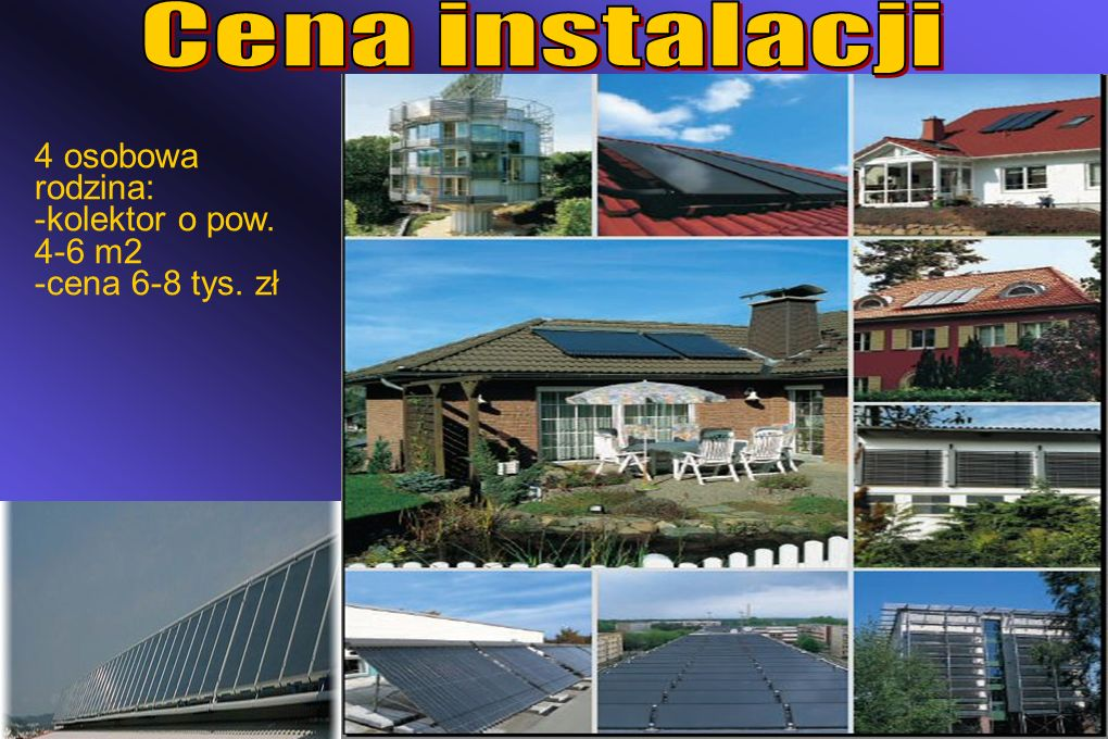 Cena instalacji 4 osobowa rodzina: -kolektor o pow. 4-6 m2