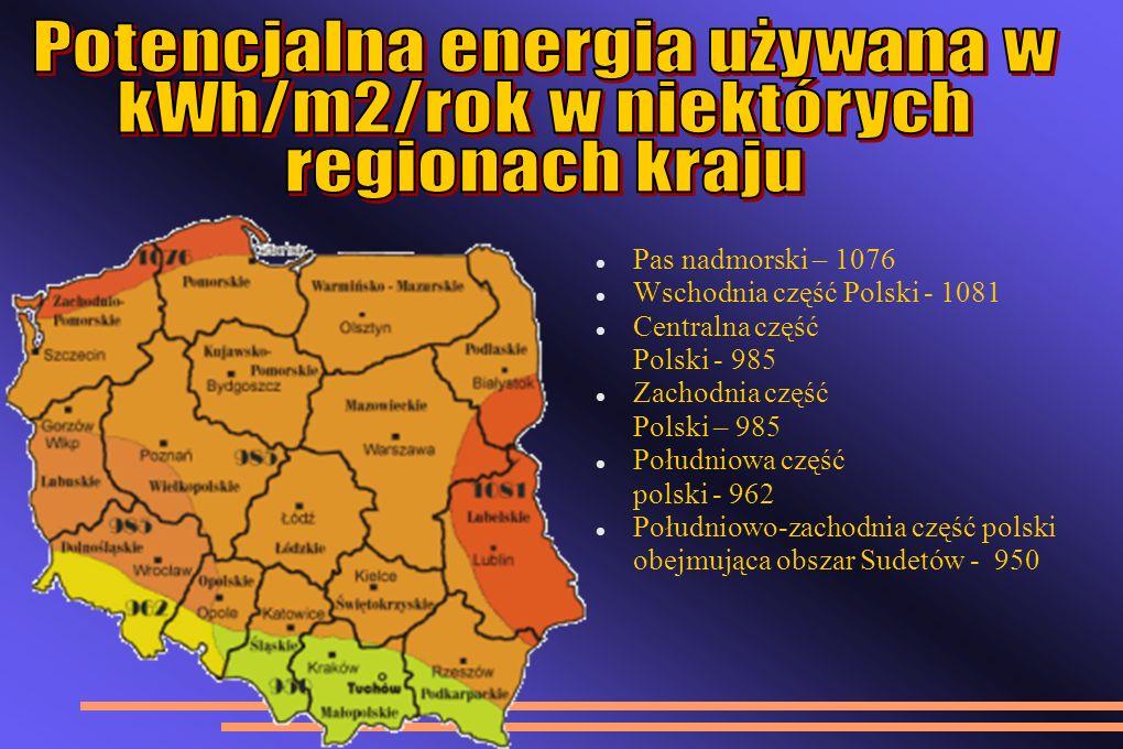 Potencjalna energia używana w kWh/m2/rok w niektórych regionach kraju