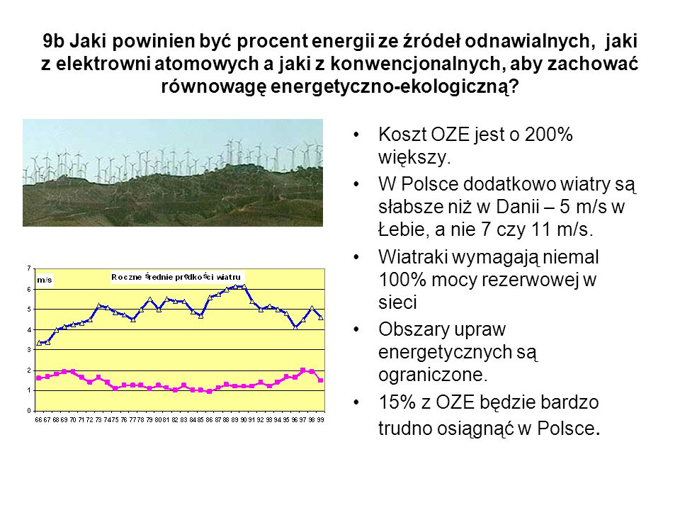 9b Jaki powinien być procent energii ze źródeł odnawialnych, jaki z elektrowni atomowych a jaki z konwencjonalnych, aby zachować równowagę energetyczno-ekologiczną