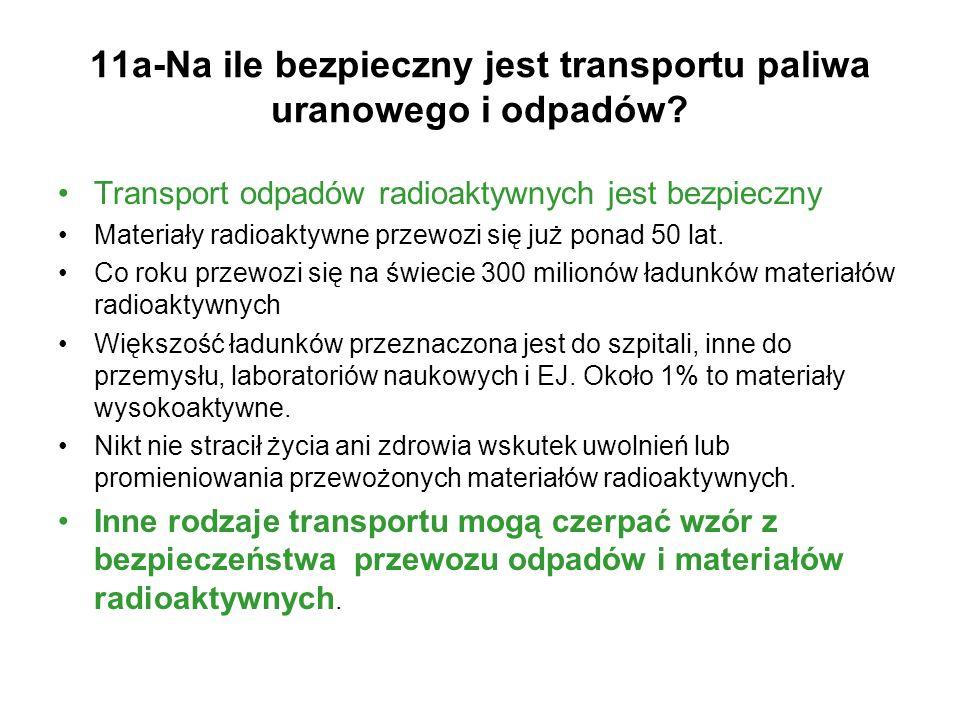 11a-Na ile bezpieczny jest transportu paliwa uranowego i odpadów