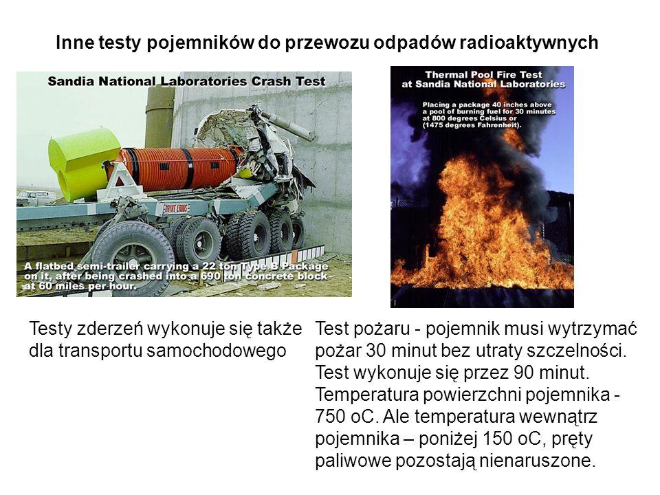 Inne testy pojemników do przewozu odpadów radioaktywnych