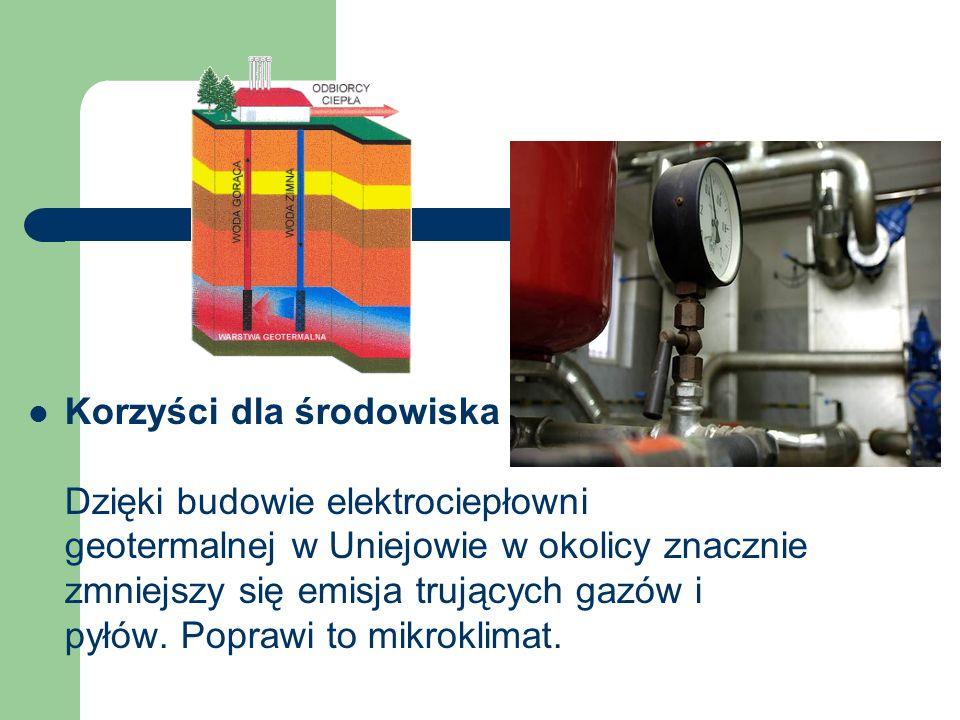 Korzyści dla środowiska Dzięki budowie elektrociepłowni geotermalnej w Uniejowie w okolicy znacznie zmniejszy się emisja trujących gazów i pyłów.
