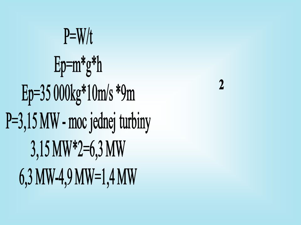 P=3,15 MW - moc jednej turbiny