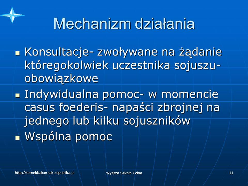 Mechanizm działania Konsultacje- zwoływane na żądanie któregokolwiek uczestnika sojuszu-obowiązkowe.