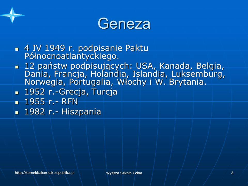 Geneza 4 IV 1949 r. podpisanie Paktu Północnoatlantyckiego.