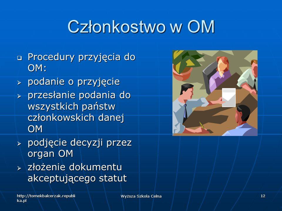 Członkostwo w OM Procedury przyjęcia do OM: podanie o przyjęcie