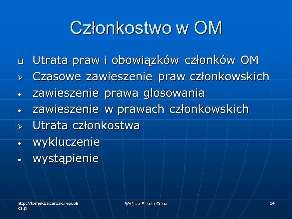 Członkostwo w OM Utrata praw i obowiązków członków OM