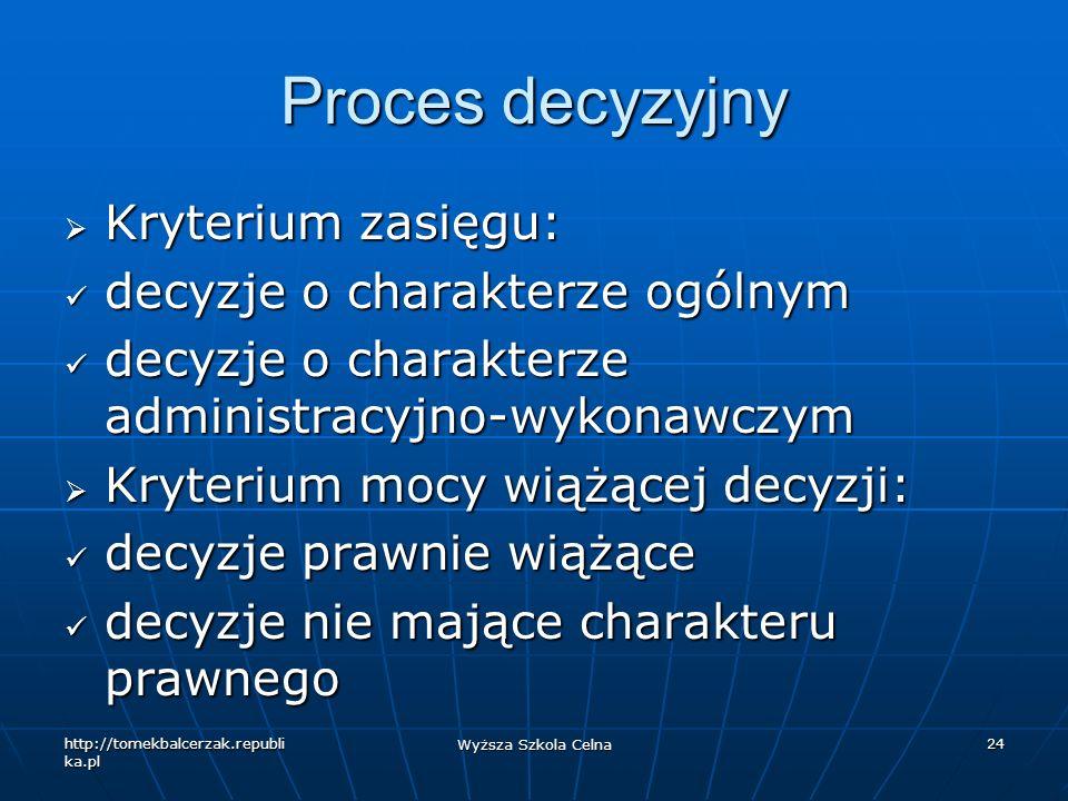Proces decyzyjny Kryterium zasięgu: decyzje o charakterze ogólnym