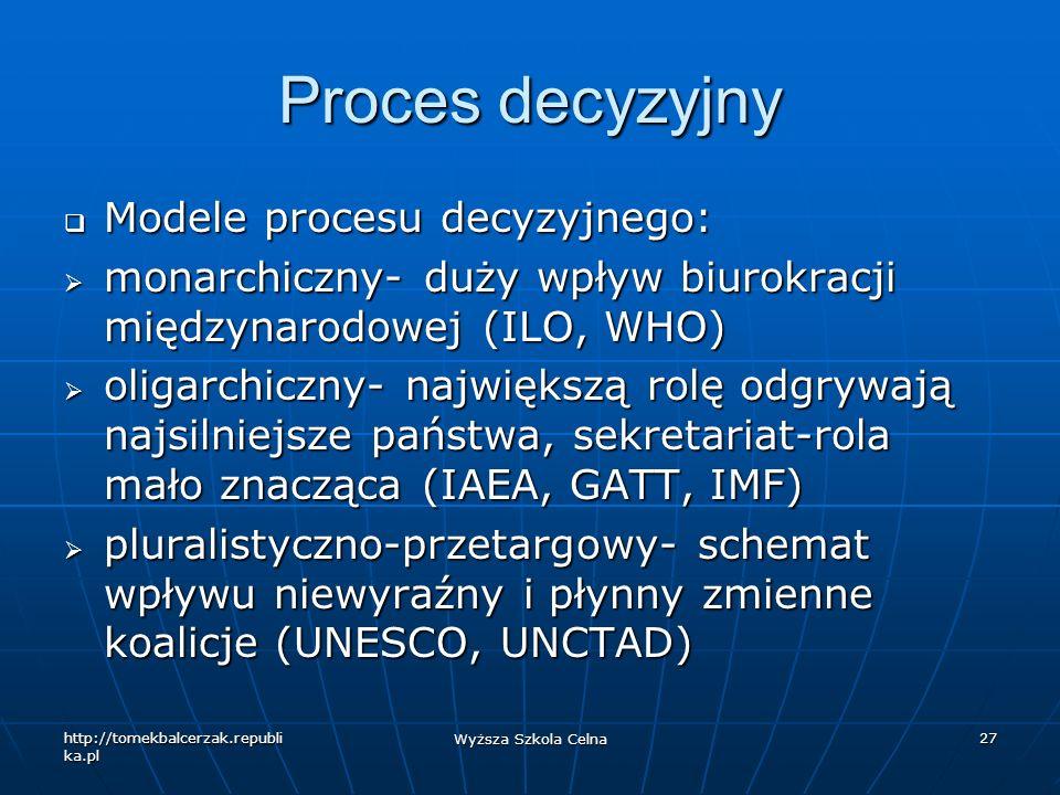 Proces decyzyjny Modele procesu decyzyjnego: