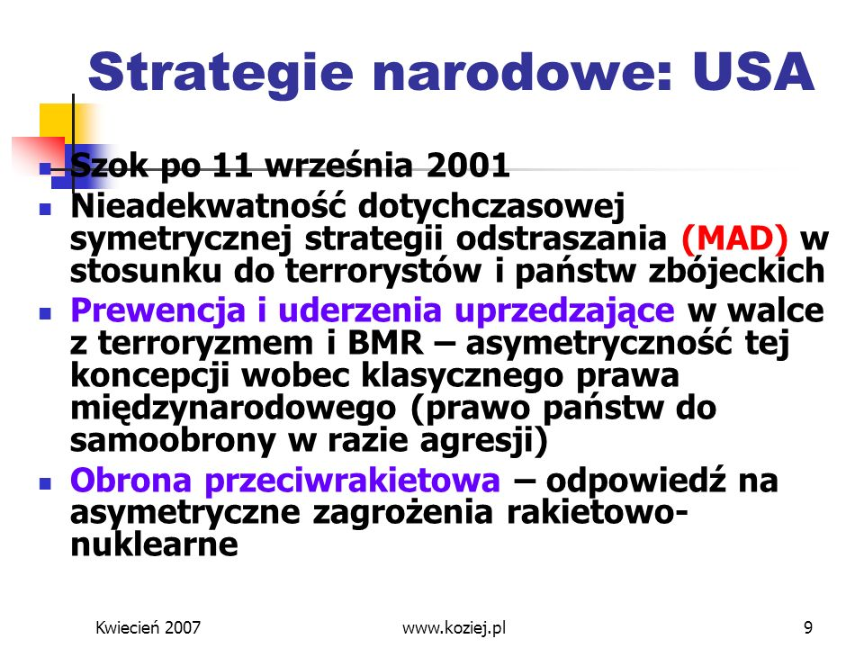 Strategie narodowe: USA
