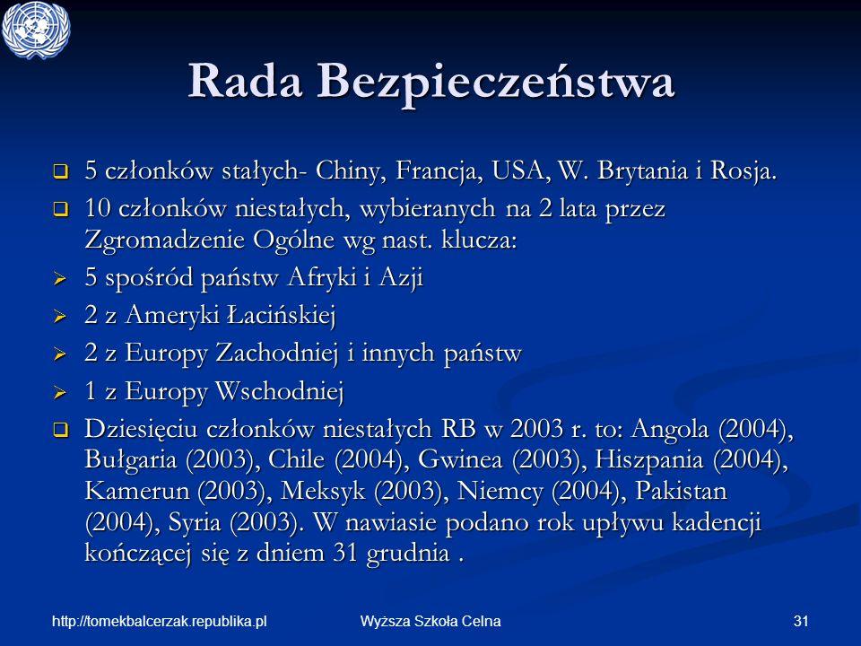Rada Bezpieczeństwa 5 członków stałych- Chiny, Francja, USA, W. Brytania i Rosja.