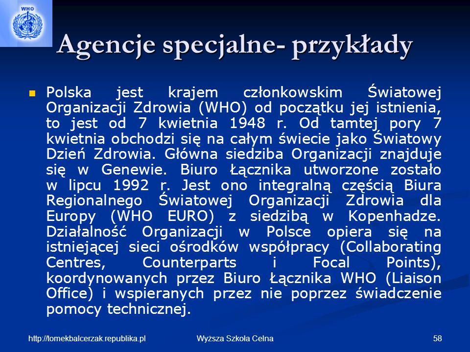 Agencje specjalne- przykłady