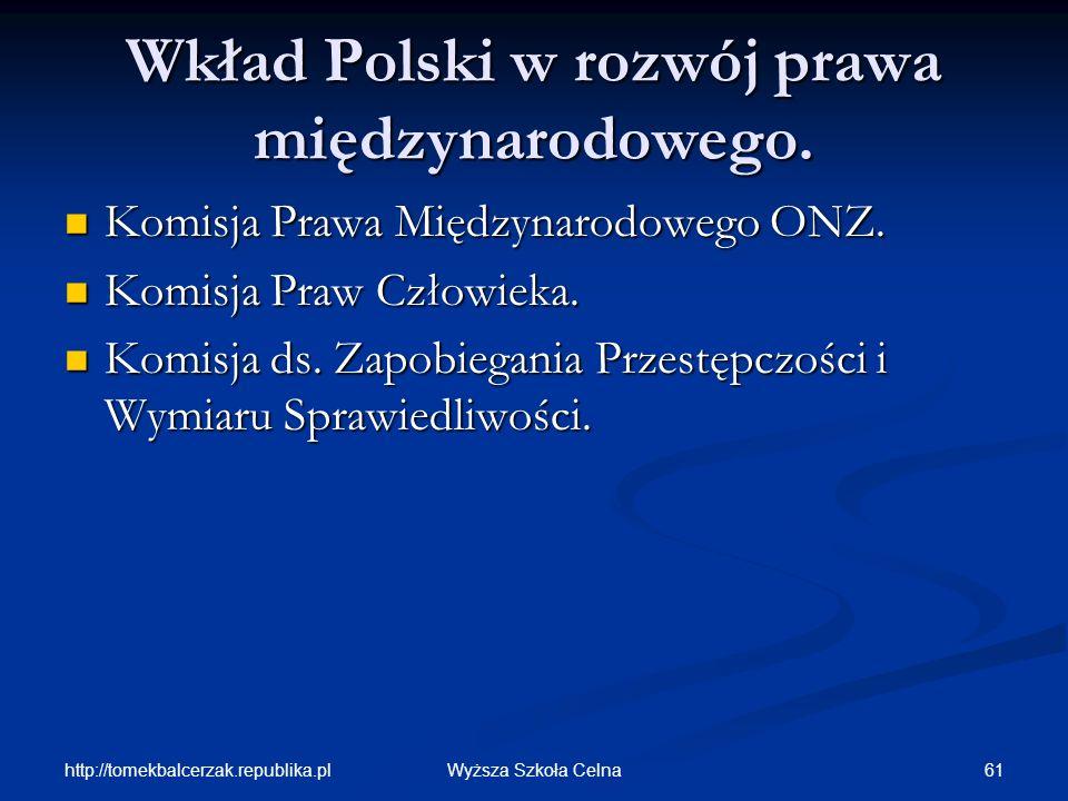 Wkład Polski w rozwój prawa międzynarodowego.