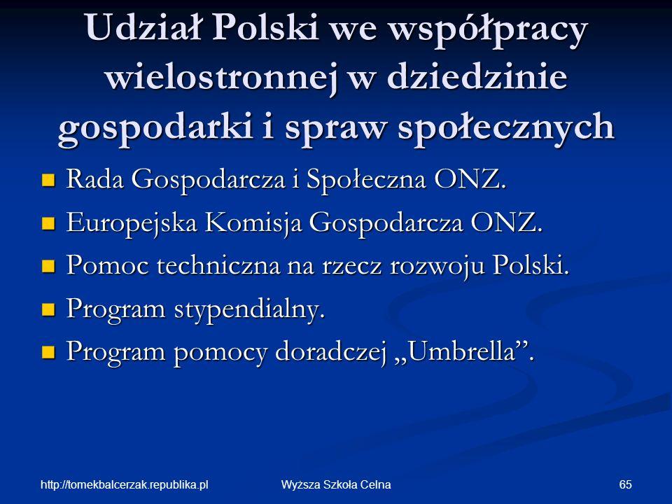 Udział Polski we współpracy wielostronnej w dziedzinie gospodarki i spraw społecznych