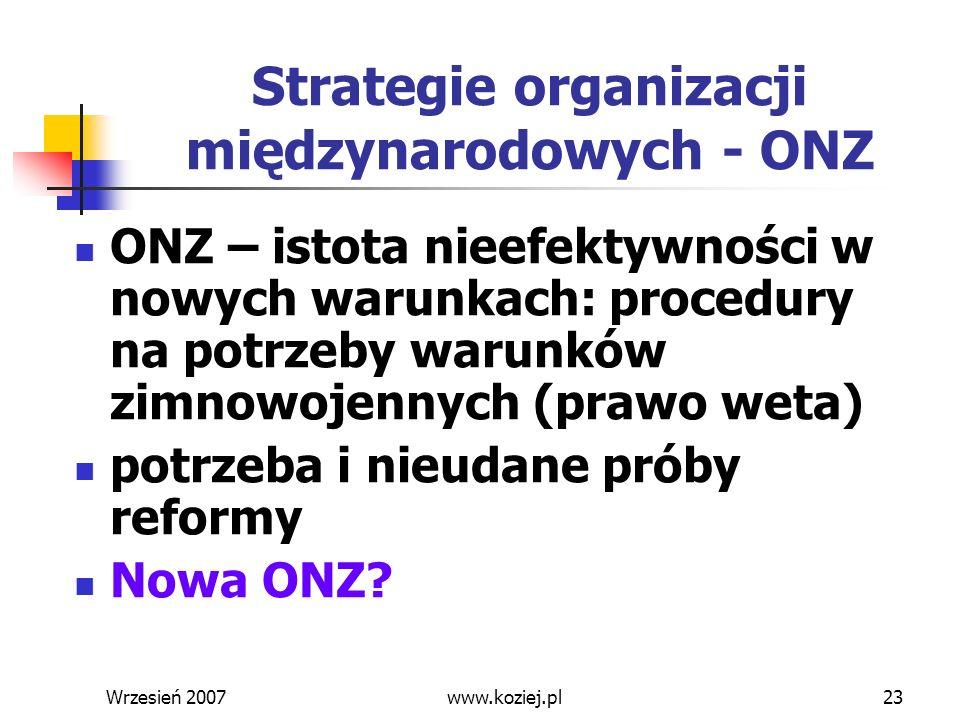 Strategie organizacji międzynarodowych - ONZ