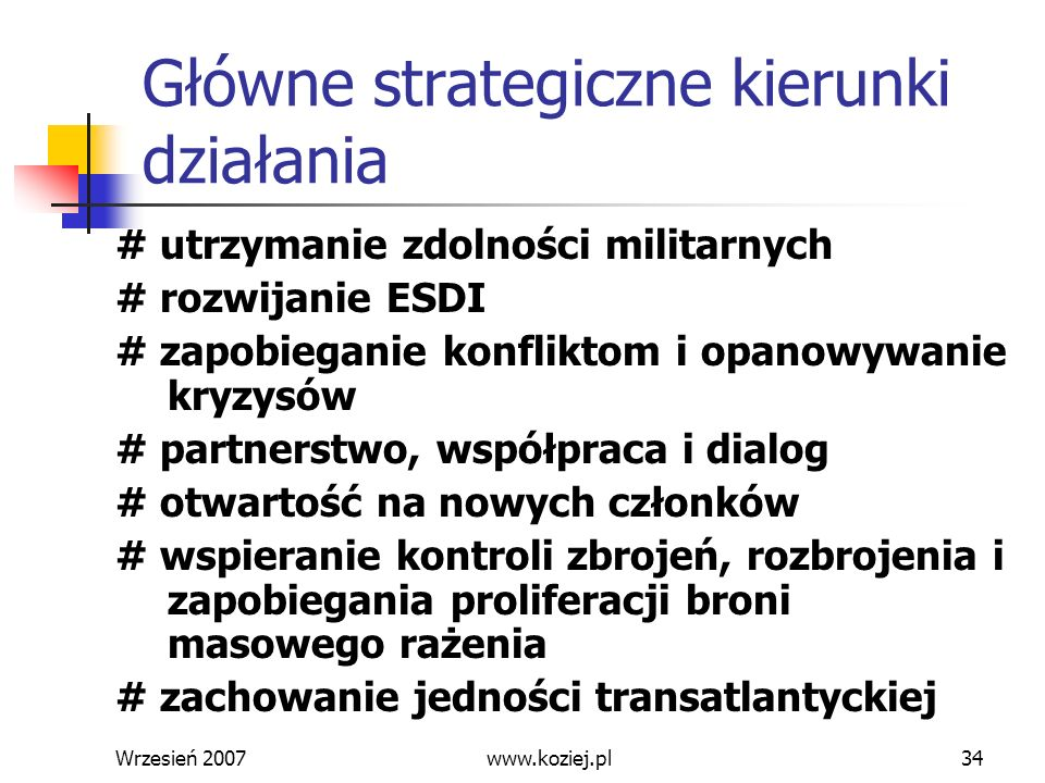 Główne strategiczne kierunki działania
