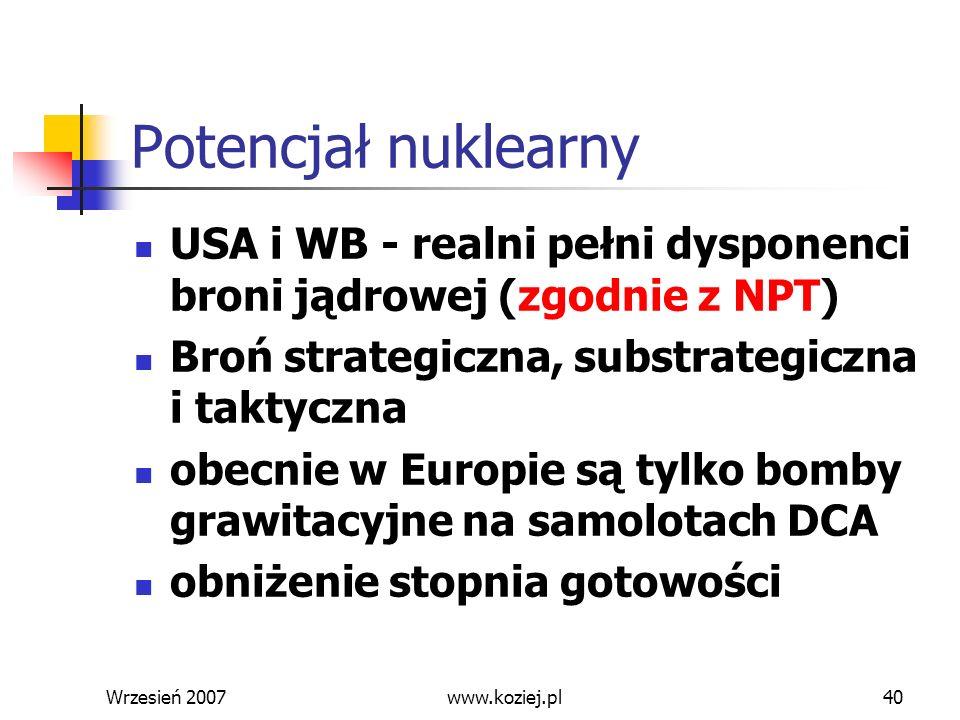 Potencjał nuklearny USA i WB - realni pełni dysponenci broni jądrowej (zgodnie z NPT) Broń strategiczna, substrategiczna i taktyczna.