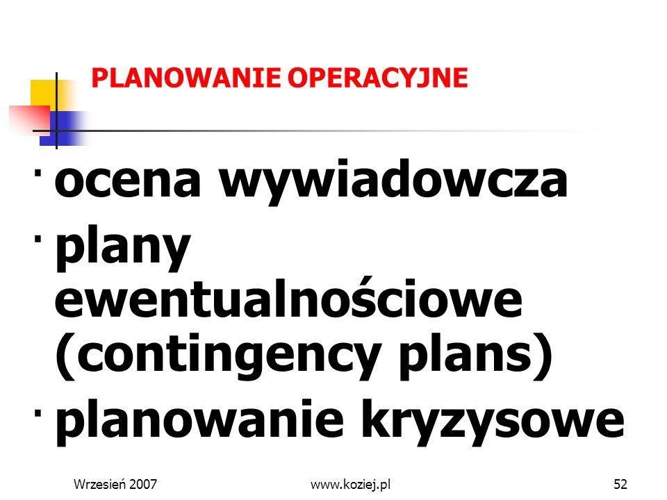 · plany ewentualnościowe (contingency plans)