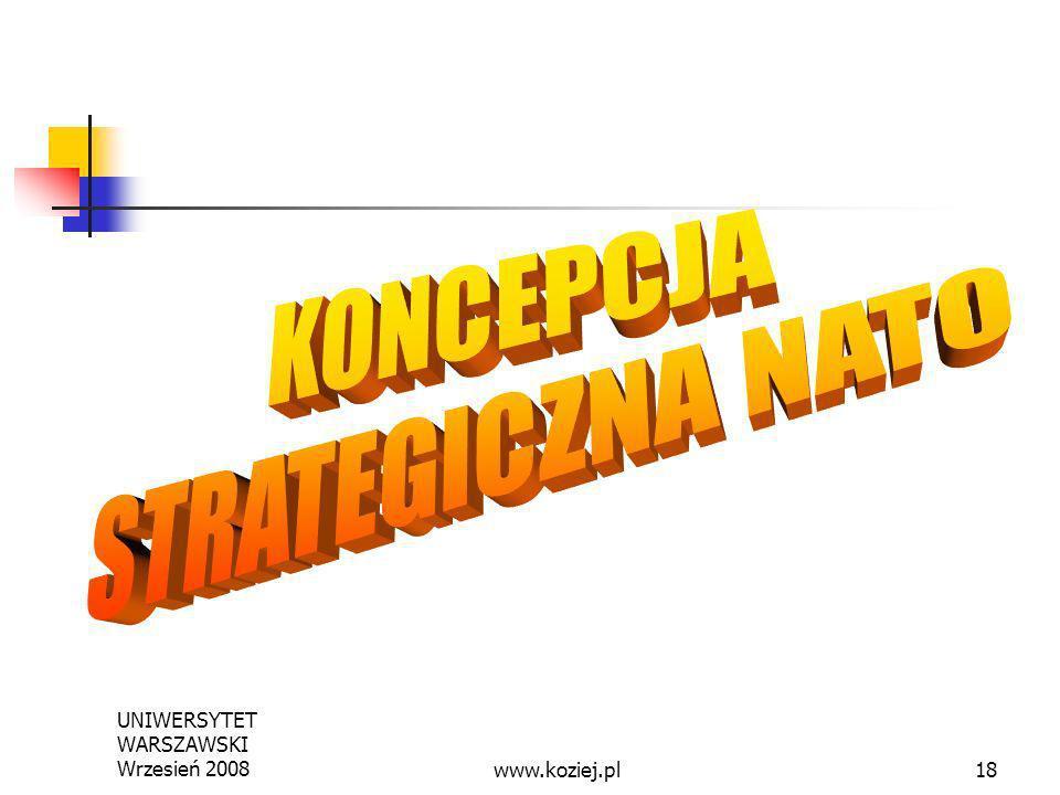 KONCEPCJA STRATEGICZNA NATO UNIWERSYTET WARSZAWSKI Wrzesień 2008