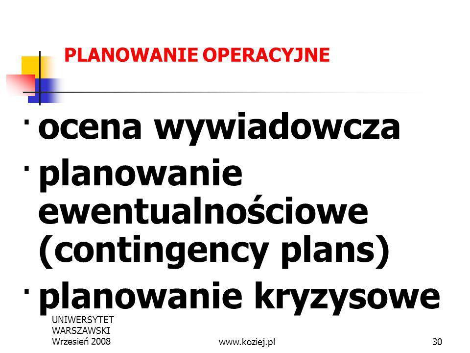 · planowanie ewentualnościowe (contingency plans)