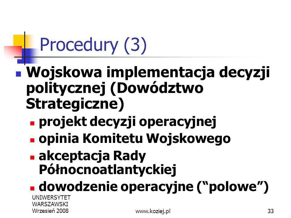 Procedury (3) Wojskowa implementacja decyzji politycznej (Dowództwo Strategiczne) projekt decyzji operacyjnej.