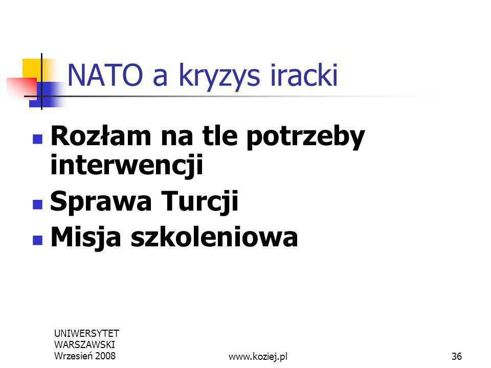 NATO a kryzys iracki Rozłam na tle potrzeby interwencji Sprawa Turcji