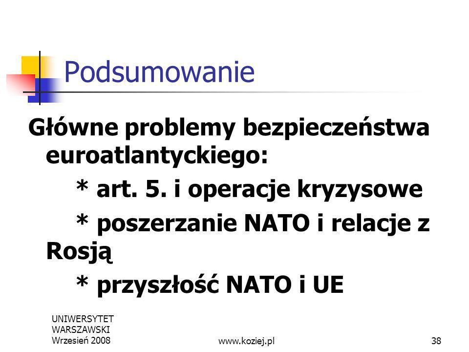 Podsumowanie Główne problemy bezpieczeństwa euroatlantyckiego: