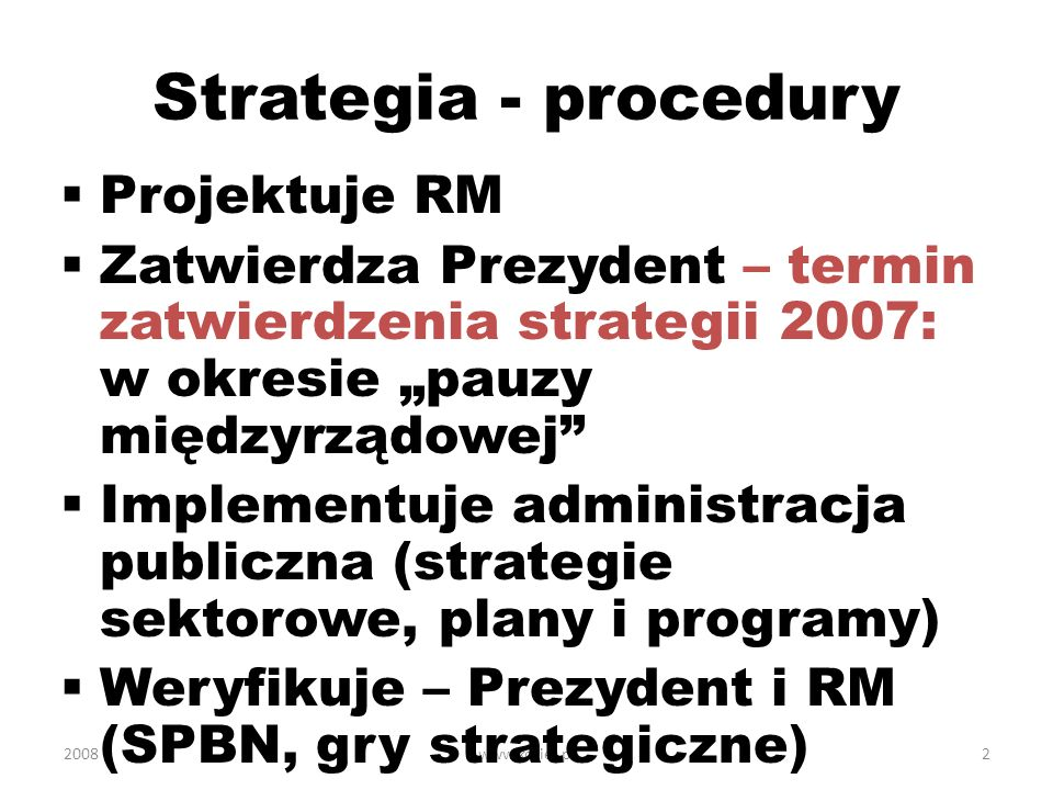 Strategia - procedury Projektuje RM