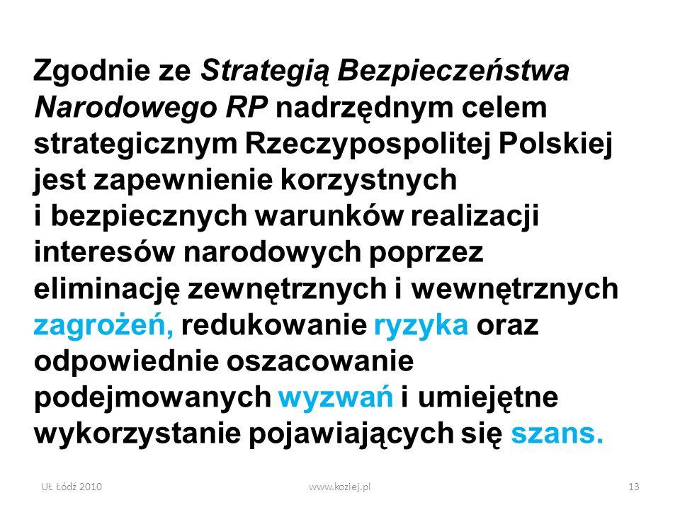 Zgodnie ze Strategią Bezpieczeństwa Narodowego RP nadrzędnym celem strategicznym Rzeczypospolitej Polskiej jest zapewnienie korzystnych i bezpiecznych warunków realizacji interesów narodowych poprzez eliminację zewnętrznych i wewnętrznych zagrożeń, redukowanie ryzyka oraz odpowiednie oszacowanie podejmowanych wyzwań i umiejętne wykorzystanie pojawiających się szans.