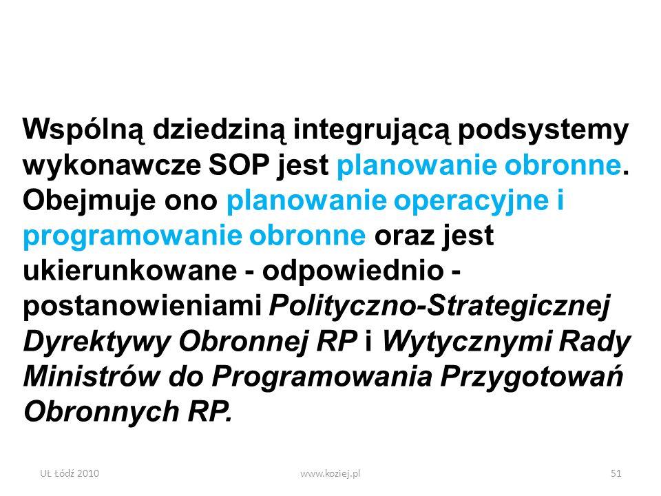Wspólną dziedziną integrującą podsystemy wykonawcze SOP jest planowanie obronne. Obejmuje ono planowanie operacyjne i programowanie obronne oraz jest ukierunkowane - odpowiednio - postanowieniami Polityczno-Strategicznej Dyrektywy Obronnej RP i Wytycznymi Rady Ministrów do Programowania Przygotowań Obronnych RP.