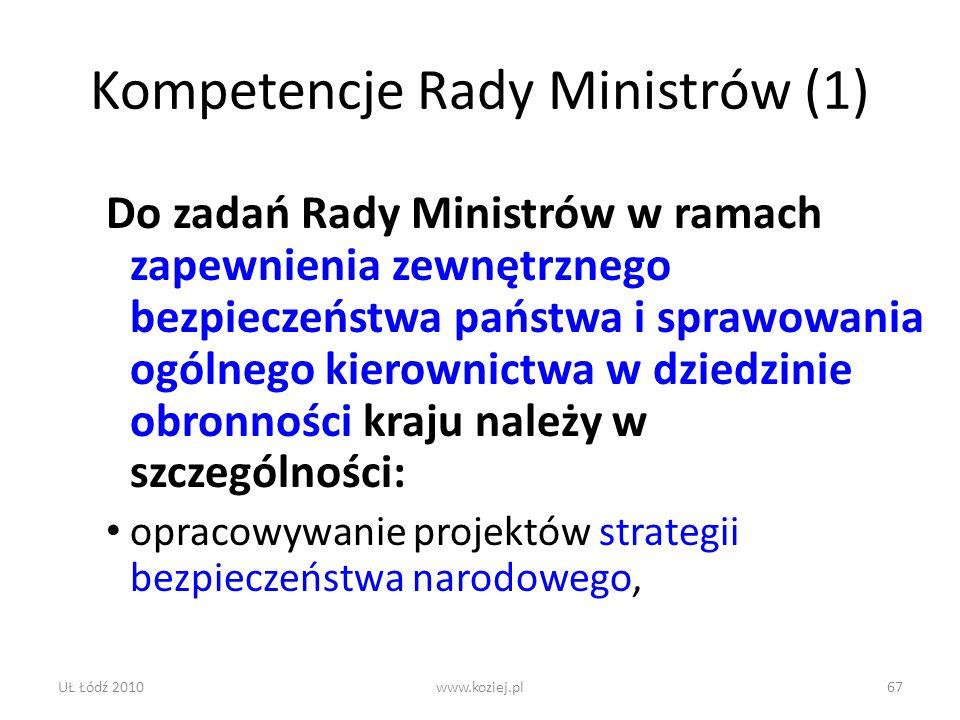 Kompetencje Rady Ministrów (1)