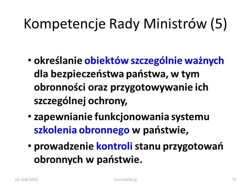 Kompetencje Rady Ministrów (5)