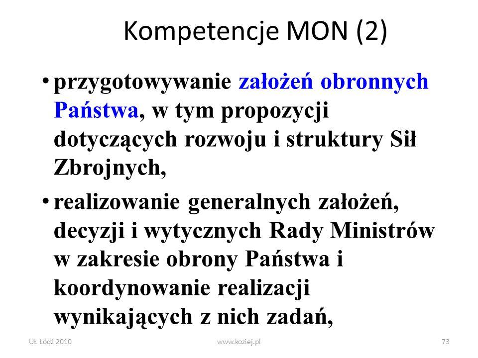 Kompetencje MON (2) przygotowywanie założeń obronnych Państwa, w tym propozycji dotyczących rozwoju i struktury Sił Zbrojnych,