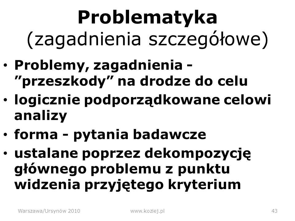 Problematyka (zagadnienia szczegółowe)