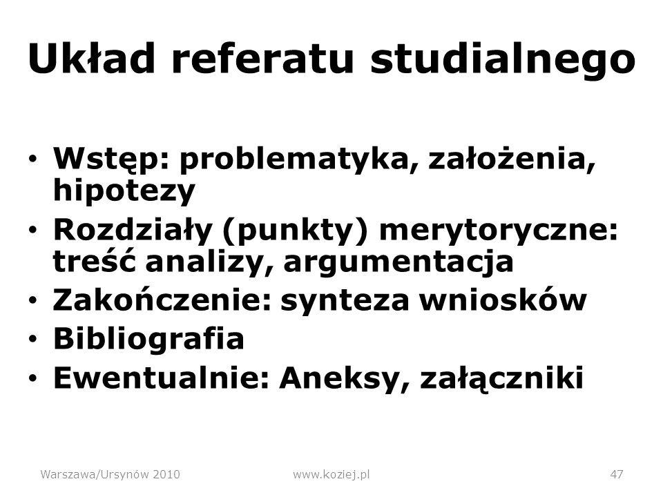 Układ referatu studialnego
