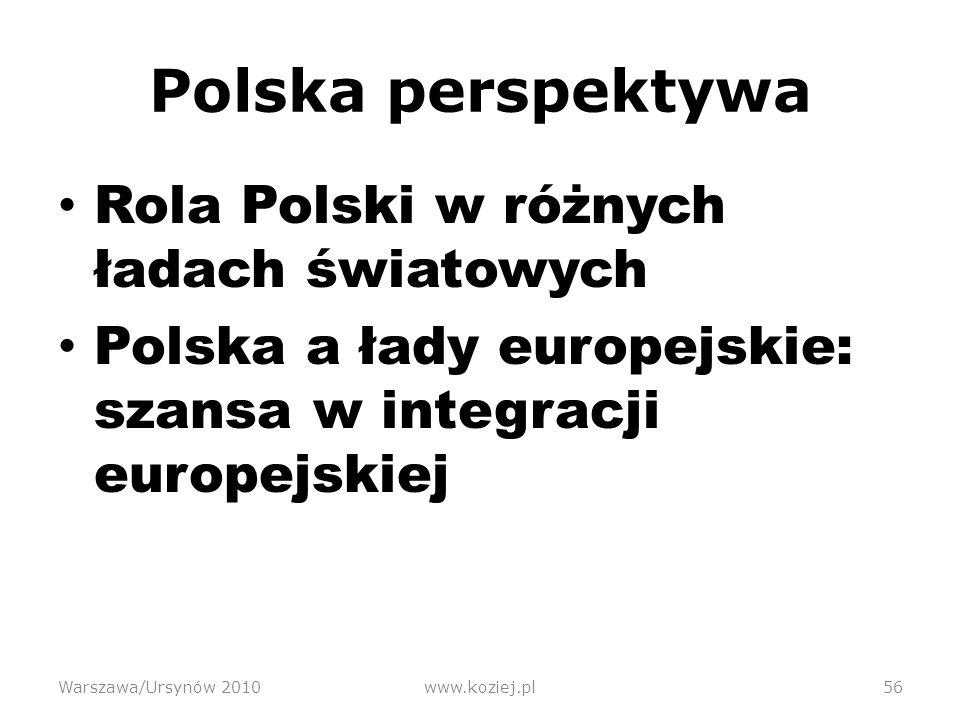 Polska perspektywa Rola Polski w różnych ładach światowych