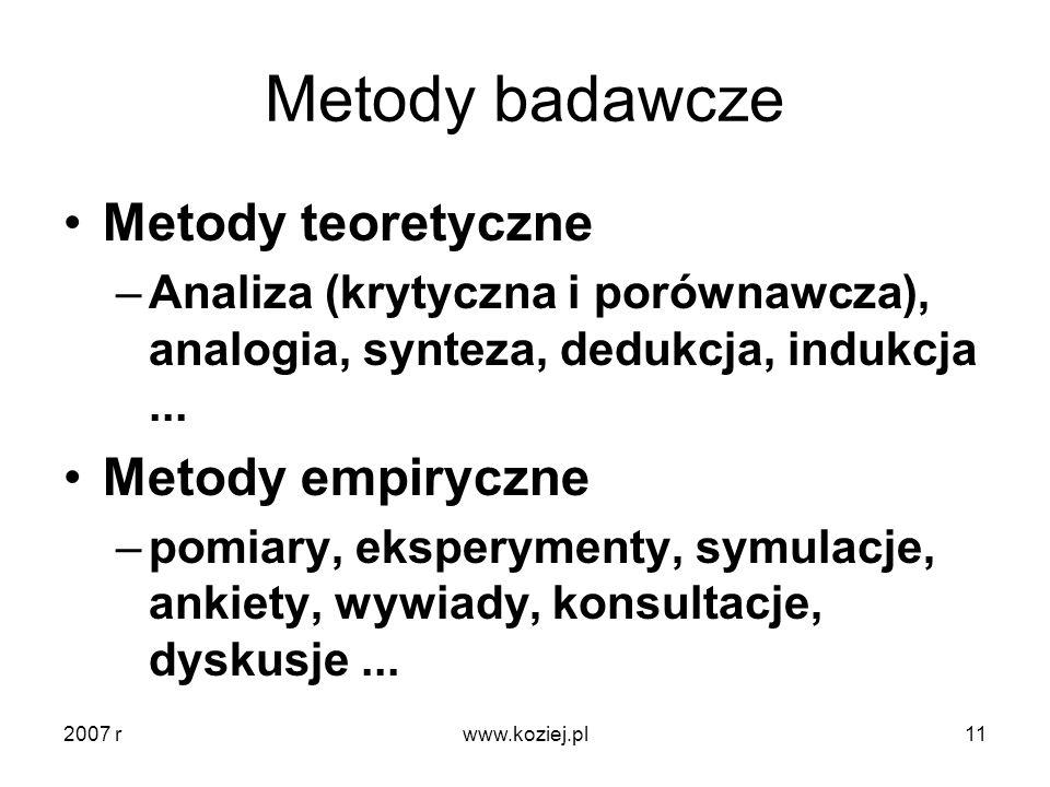 Metody badawcze Metody teoretyczne Metody empiryczne