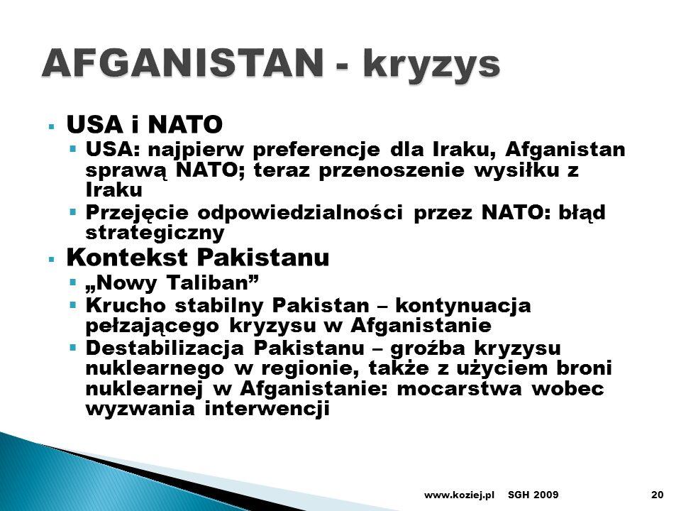AFGANISTAN - kryzys USA i NATO Kontekst Pakistanu