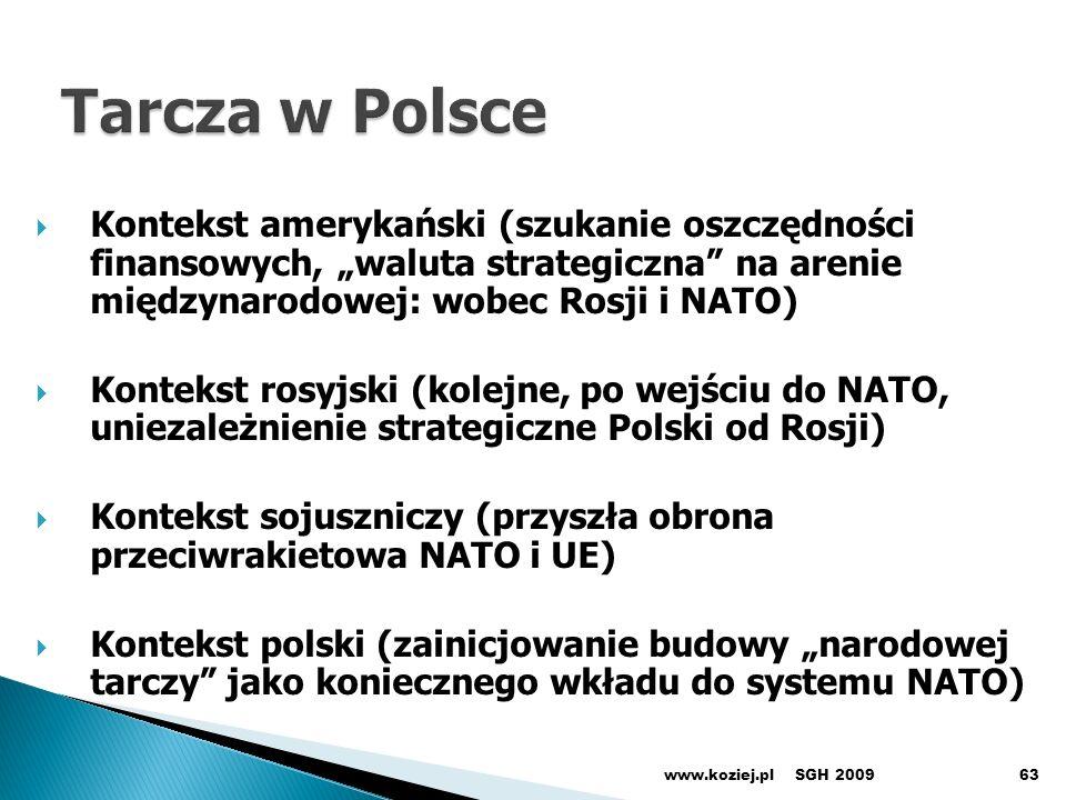 """Tarcza w Polsce Kontekst amerykański (szukanie oszczędności finansowych, """"waluta strategiczna na arenie międzynarodowej: wobec Rosji i NATO)"""